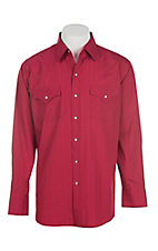 Ely Cattleman L/S Tone on Tone Solid Red Shirt