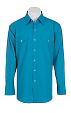 Ely Cattleman L/S Tone on Tone Solid Turquoise Shirt