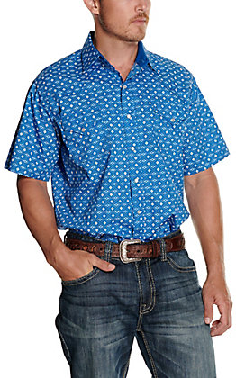 Ely Cattleman Men's Cobalt Blue with Aztec Print Short Sleeve Western Shirt
