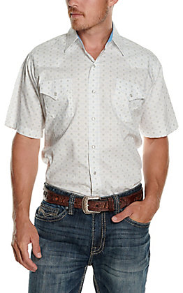 Ely Cattleman Men's White with Aztec Print Short Sleeve Western Shirt