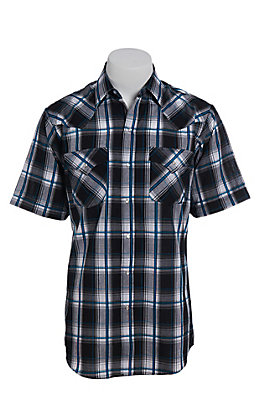 Ely Cattleman Men's Black Plaid Short Sleeve Western Shirt