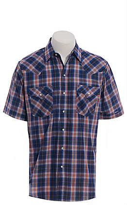 d3f30d450728 Ely Cattleman Men's Blue & Red Plaid Short Sleeve Western Shirt