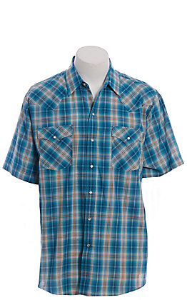 Ely Cattleman Men's Turquoise Plaid Short Sleeve Western Shirt