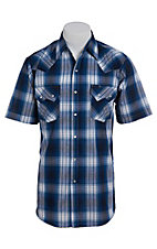 Ely Cattleman Men's Textured Blue Plaid Short Sleeve Western Shirt