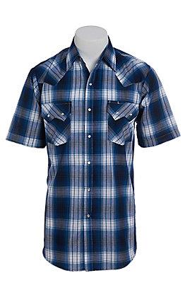 Ely Cattleman Men's Textured Blue Plaid Short Sleeve Western Shirt