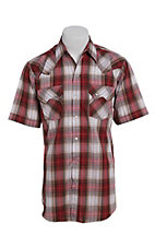 Ely Cattleman Men's Textured Rust Plaid Short Sleeve Western Shirt