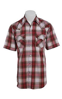 Ely Cattleman Men's Textured Rust Plaid Short Sleeve Western Shirt