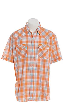 Ely Cattleman Men's Orange Plaid Short Sleeve Western Shirt