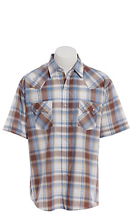 Ely Cattleman Men's Brown And Blue Plaid Short Sleeve Western Shirt