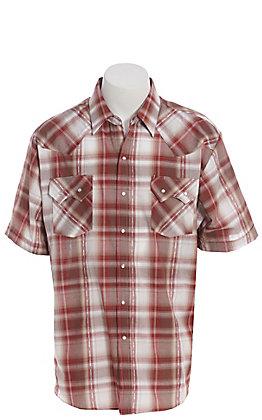 Ely Cattleman Men's Aztec Dobby Red Plaid Short Sleeve Western Shirt