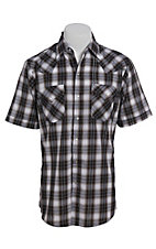 Ely Cattleman Men's Textured Plaid Black Short Sleeve Western Shirt