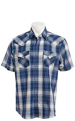 Ely Cattleman Men's Blue Denim Dobby Plaid Short Sleeve Western Shirt