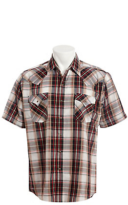 Ely Cattleman Men's Red Dobby Plaid Short Sleeve Western Shirt