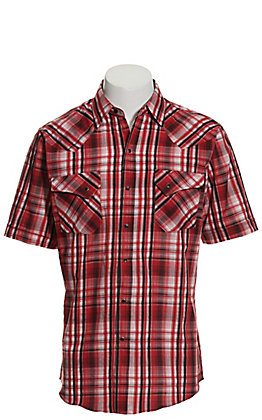 Ely Cattleman Men's Red and Black Plaid Textured Dobby Short Sleeve Western Shirt