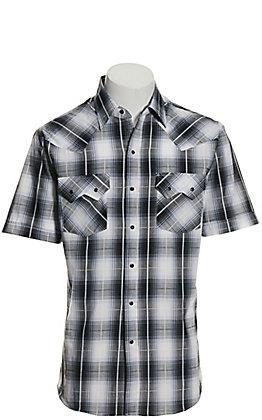 Ely Cattleman Men's Black and White Plaid Textured Dobby Short Sleeve Western Shirt