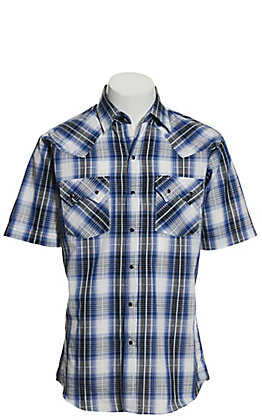 Ely Cattleman Men's Royal Blue, Blue & White Plaid Textured Dobby Short Sleeve Western Shirt