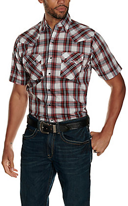 Ely Walker Men's Red, Black and White Textured Dobby Plaid Short Sleeve Western Shirt