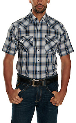 Ely Cattleman Men's Navy and White Plaid Textured Dobby Short Sleeve Western Shirt