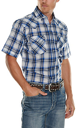 Ely Walker Men's Blue and White Textured Dobby Plaid Short Sleeve Western Shirt