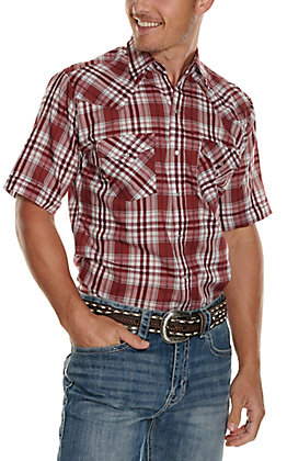 Ely Cattleman Men's Burgundy and White Plaid Textured Dobby Short Sleeve Western Shirt