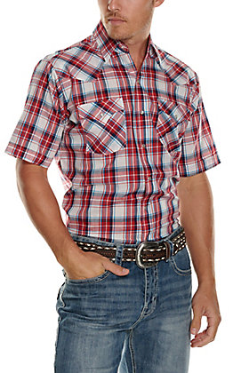 Ely Cattleman Men's Red, White & Blue Plaid Short Sleeve Western Shirt