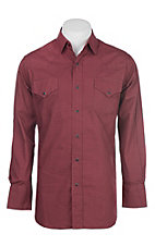 Ely Cattleman Men's Burgundy Mini Print Western Button Down Shirt