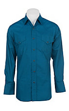 Ely Cattleman Men's Turquoise Mini Print Western Button Down Shirt
