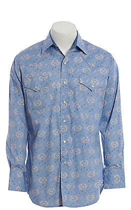 Ely Cattleman Men's Blue Aztec Print Long Sleeve Western Shirt