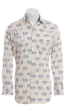 Ely Cattleman Men's Stone Aztec Print Long Sleeve Western Shirt