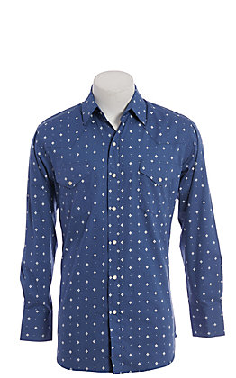 Ely Cattleman Men's Blue with White Diamond Print Long Sleeve Western Shirt