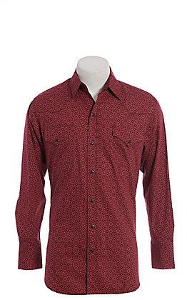 Ely Cattleman Men's Burgundy Print Long Sleeve Western Shirt