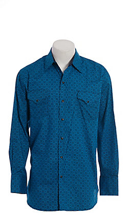 Ely Cattleman Men's Turquoise Print Long Sleeve Western Shirt
