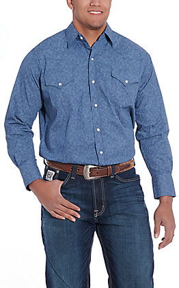 Ely Cattleman Men's Blue Paisley Print Long Sleeve Western Shirt
