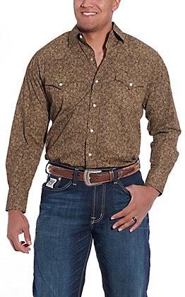 Ely Cattleman Men's Brown Paisley Print Long Sleeve Western Shirt