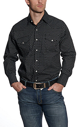 Ely Cattleman Men's Black Geo Print Long Sleeve Western Shirt