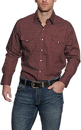 Ely Cattleman Men's Burgundy Geo Print Long Sleeve Western Shirt