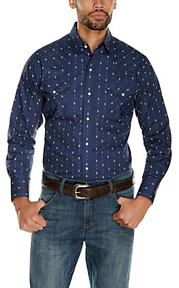 Ely Cattleman Men's Navy with Tan Aztec Print Long Sleeve Western Shirt