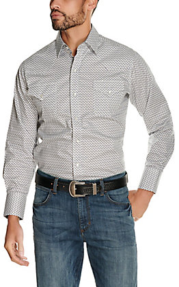 Ely Cattleman Men's Charcoal and White Diamond Print Long Sleeve Western Shirt