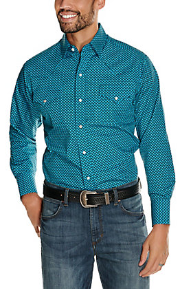 Ely Cattleman Men's Turquoise and Black Diamond Print Long Sleeve Western Shirt