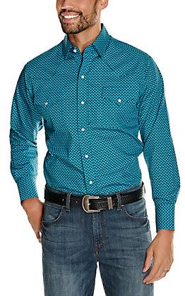 Ely Cattleman Men's Turquoise and Black Diamond Print Long Sleeve Western Shirt