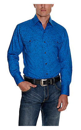 Ely Cattleman Men's Blue with Black Paisley Print Long Sleeve Western Shirt