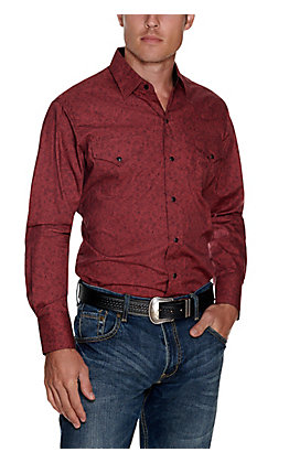Ely Cattleman Men's Wine with Black Paisley Print Long Sleeve Western Shirt