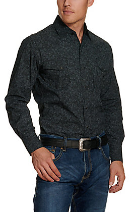 Ely Cattleman Men's Charcoal Paisley Long Sleeve Western Shirt