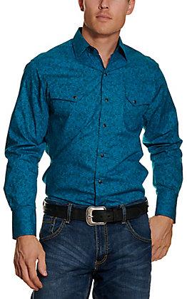 Ely Cattlemen Men's Teal Paisley Print Long Sleeve Western Shirt