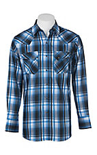 Ely Cattleman Men's Bright Blue Textured Plaid Western Snap Shirt
