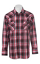 Ely Cattleman Men's Red Textured Plaid Western Snap Shirt