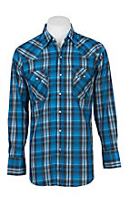 Ely Cattleman Men's Lurex Blue Plaid Western Snap Shirt