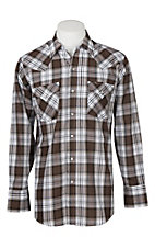 Ely Cattleman Men's Lurex Brown Plaid Western Snap Shirt