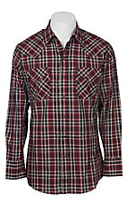 Ely Cattleman Men's Burgundy Textured Plaid Western Snap Shirt