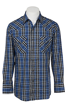 Ely Cattleman Men's Navy Textured Plaid Western Snap Shirt